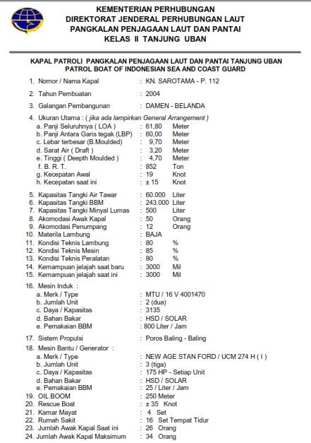 Ship Particular KN. Sarotama P.112 (dokumen pribadi)